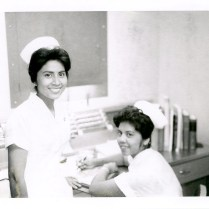 513-AS Photo of nursing students Grace Lucas (left) and Mary Alice DeLowe (right)
