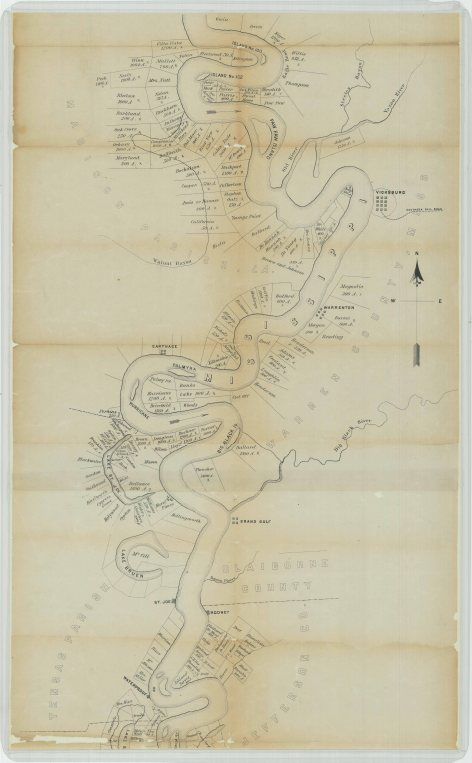 Plot of Vicksburg and Natchez Districts. For Leasing Abandoned Plantations., part 1
