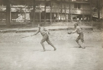 One-armed baseball team, Walter Reed Hospital. Strike three, a safe hit. 165-WW-266A-68