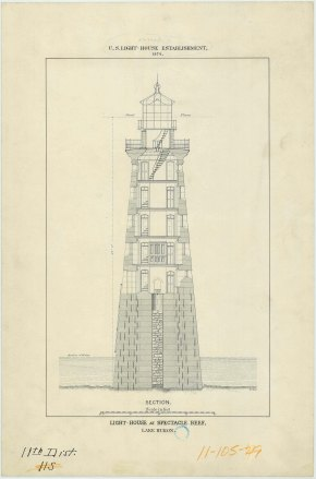 RG26: Lighthouse Drawings; MI, Spectacle Reef; #2. Section plan, vertical, 1874.