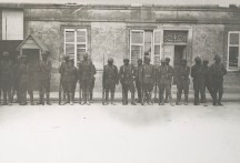 Members of the 93rd Division stand in front of the barracks in France, 1918. Local Identifier, 165-WW-127-126.