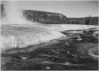 River in Foreground, Trees Behind. Firehole River, Yellowstone National Park, Wyoming. 79-AAT-14