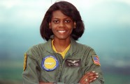 """ENSIGN Matice Wright, the Navy's first black female naval flight officer, poses for a photograph. Wright is assigned to Fleet Air Reconnaissance Squadron 3 (VQ-3)."" Date Taken: May 1993 (Local ID: 330-CFD-DN-SC-93-04639)"