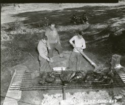 """(Local Identifier: 111-SC-171924) """"John P. Bienkieqics, Kerny, NJ, Capt. Joe E. Moore Seattle, Washington, and Pfc. Howard F. Storie, Shawnee, Oklahoma, went on a wild boar hunt. The meat is being barbecued. French Morocco, North Africa 01/19/1943."""""""