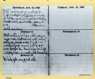 Photograph of Lt. Toner's diary. Local ID: 342-B-ND-075-4-163134AC