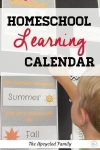 Homeschool learning calendar. Easy PDF ( and printable) learning calendar for homeschoolers & preschool. Make morning work and circle time fun with weather charts, days of the week dates, season, months and more! #learningcalendar #morningwork #circletime #preschool #kindergarten #homeschool #weathercharts