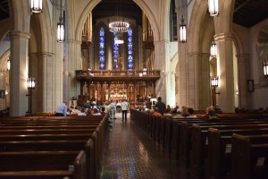 Down the aisle at Calvary Episcopal Church