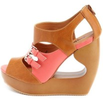 COLORBLOCK| Color Block Zip-Back Cutout Wedges, $43, available at charlotterusse.com