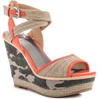 PRINT| G by Guess Tezley – Taupe Multi Wedges, $50, available at Guess.com