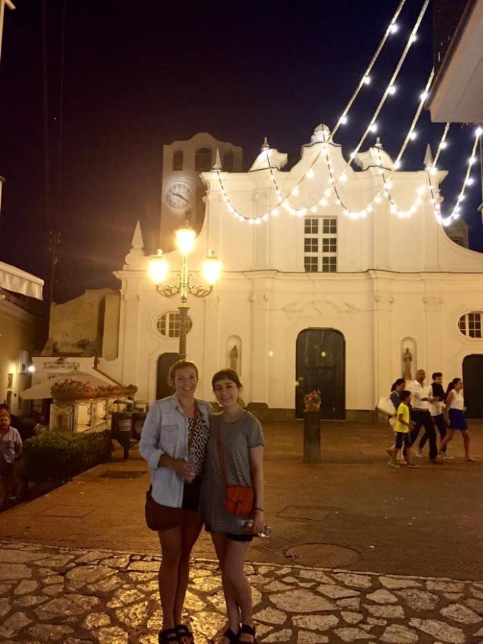 Capri, Anacapri, Italy, town square, square, Europe, travel, night life, church, lights.