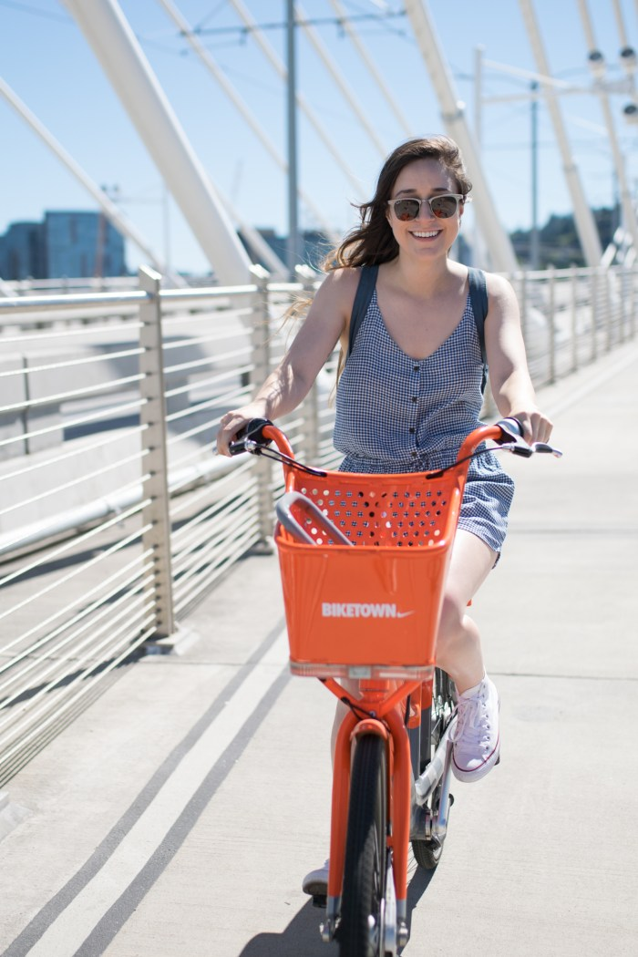 Gingham, romper, biking, bikes, bike, Biketown, Nike, Tilikum Crossing, bridge, Aerial Tram, converse, ray bands, old navy, summer