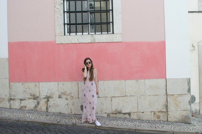Bairro Alto, neighborhood, district, Lisbon, Portugal, Europe, travel, wanderlust, explore, colorful, buildings, flowers, graffiti, street art, pink, fashion, maxi dress, dress