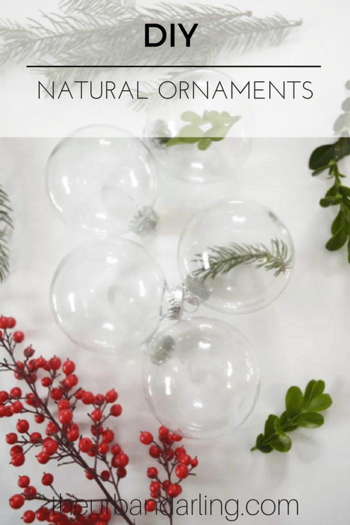 natural, glass, ball, ornaments, simplistic, holiday, decor, decorations, DIY, greenery, berries