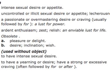 Intense sexual desire