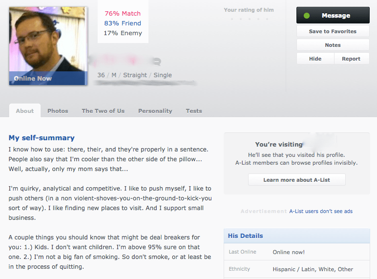 Okcupid my self summary