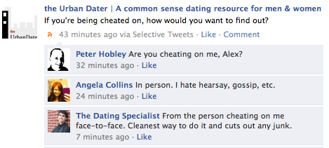 what facebook fans think of cheeting