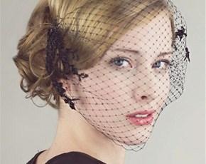 short-black-vintage-wedding-veil-2015