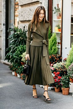 monochromatic outfit army green