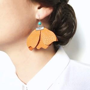 cercei statement piele portocaliu sashaccessories