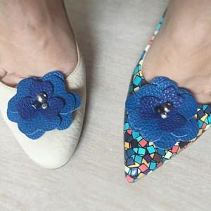clipsuri detasabile pantofi sashaccessories flaore albastra piele