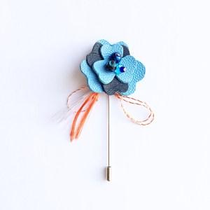 brosa martisor wild rose albastru sashaccessories