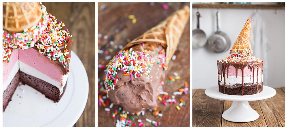Grain & Dairy Free Neapolitan Ice Cream Cake