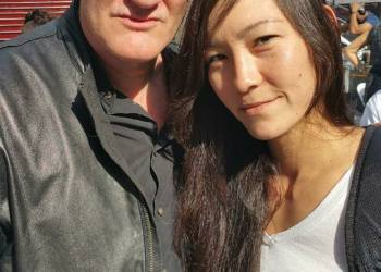 Quentin Tarantino with activist at Rise Up October New York City 2015