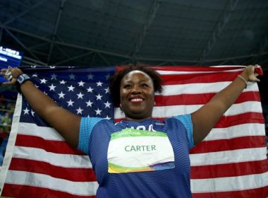 Michelle Carter grabs a gold.