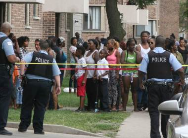 neighbors gather at crime scene