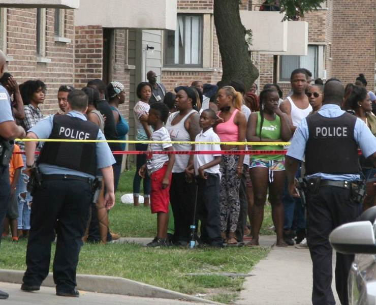 neighbors gather at crime scene