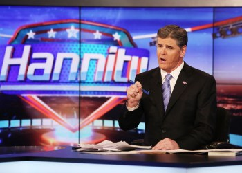 """NEW YORK, NY - APRIL 21:  Host Sean Hannity on set of FOX's """"Hannity With Sean Hannity"""" at FOX Studios on April 21, 2014 in New York City.  (Photo by Paul Zimmerman/Getty Images)"""