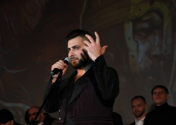 Film director Rustam Mosafir at the premiere of his film The Scythian at Moscow's Kosmos movie theater.