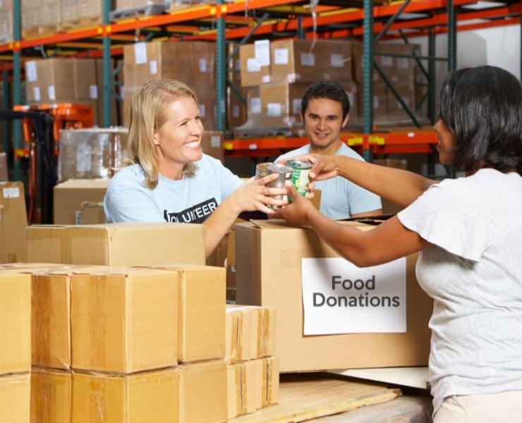 boxes of food for poor