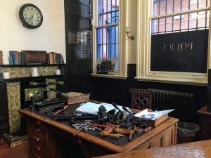 A view of the main office for the police station where the visitors and criminals would be brought in