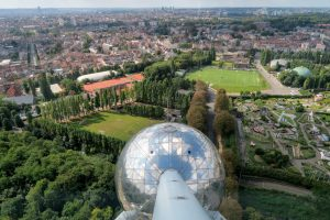 The view from the atomium over the city of Brussels