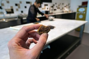 A close up of a filled truffle chocolate with biscuit coating with the artisan chocolate maker making them in the background