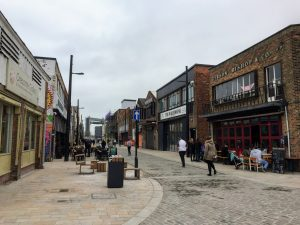 It is never dull in Hull | Looking down a street towards some trendy looking bars, cafes and shops