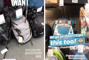 Pictures from my Instagram Stories sharing what I bought at Go Outdoors Preston