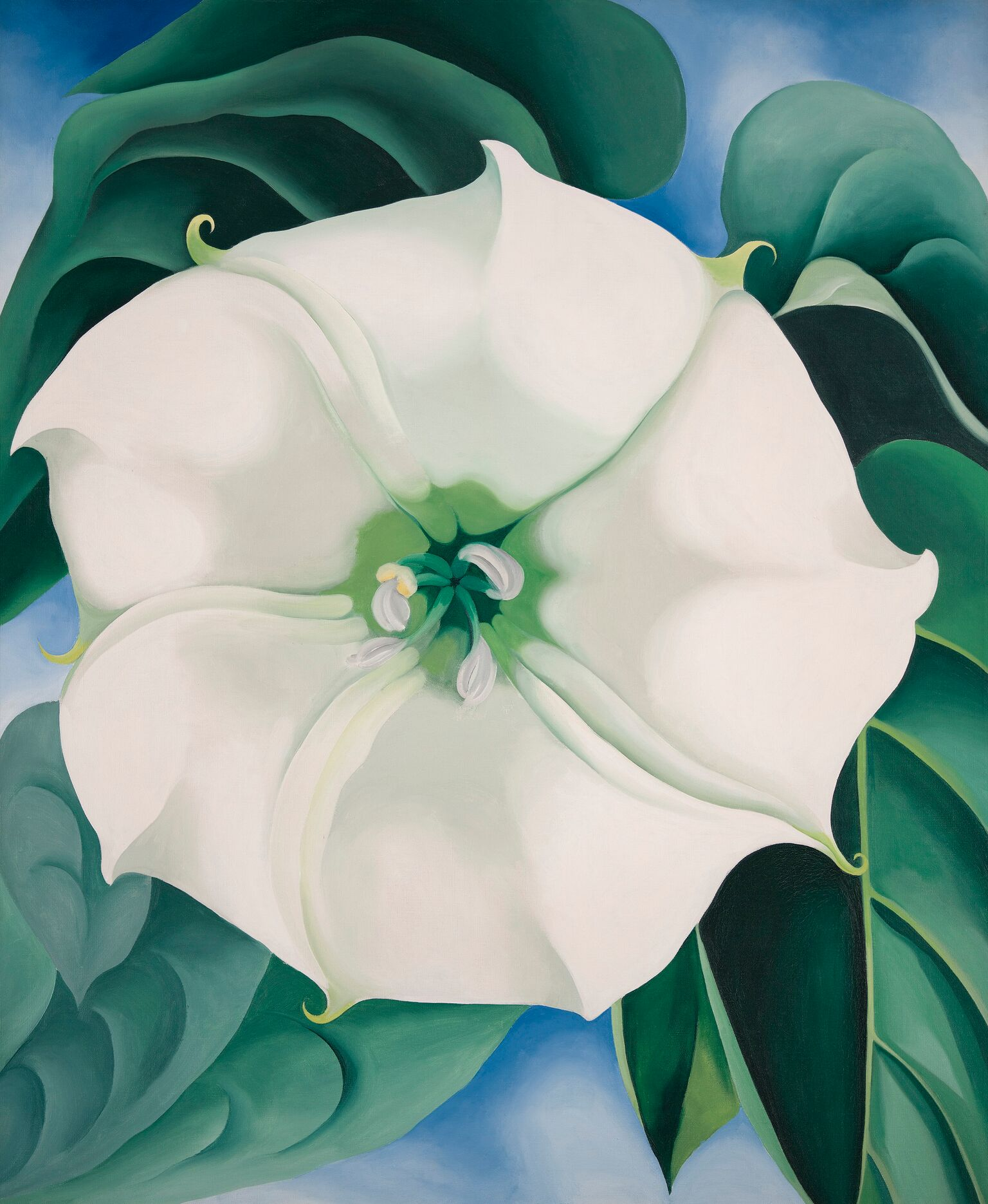 Georgia O'Keeffe 1887-1986 Jimson Weed/White Flower No. 1 1932 Oil paint on canvas 48 x 40 inches Crystal Bridges Museum of American Art, Arkansas, USA Photography by Edward C. Robison III © 2016 Georgia O'Keeffe Museum/DACS, London