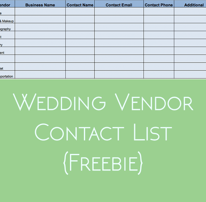 Wedding Vendor Contact List {Freebie}