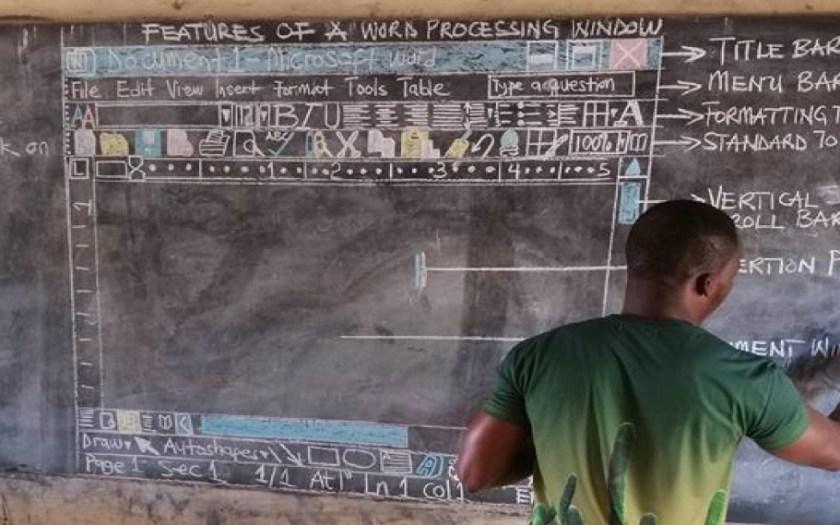 Ghana teacher recreates Microsoft Word window using chalk and a blackboard.