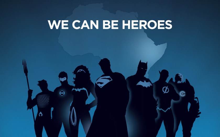 DC's We Can Be Heroes poster, featuring silhouettes of superheroes in front of Africa.