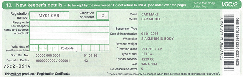 document to sell a car privately in the UK