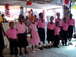 Children's choir at the Christian Reformed Church in Thomasique, Haiti