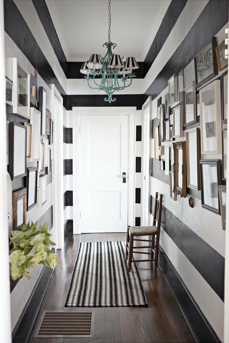 Hallway walls black bands