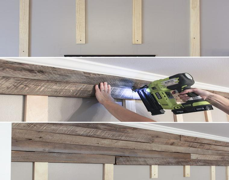 measure place wood slats wall pallet