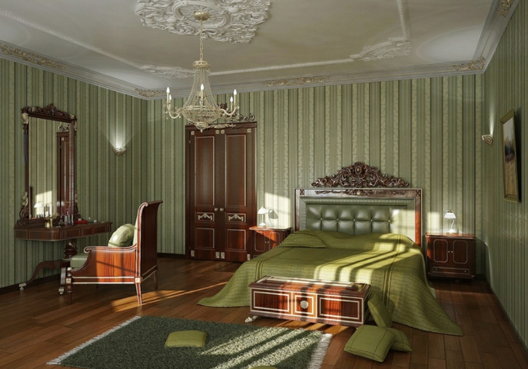 Regal style bedroom green walls