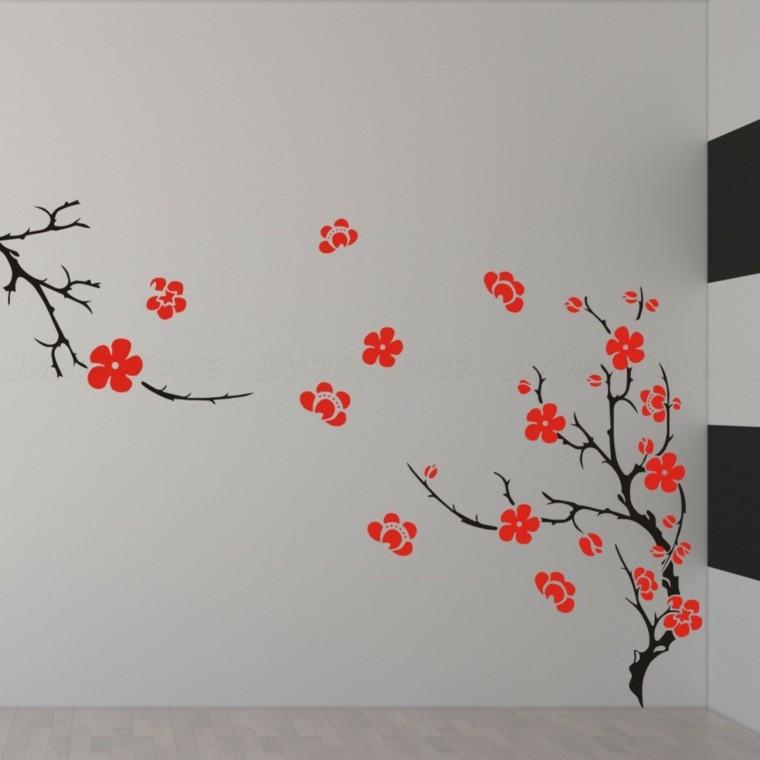 paper wall motifs red flowers