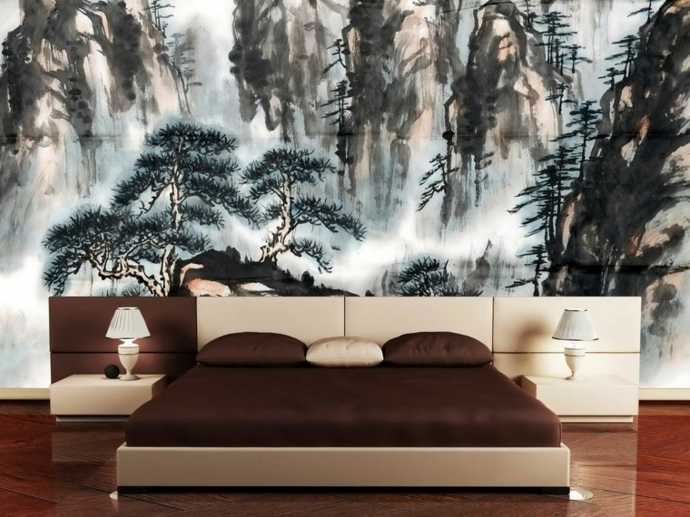 bed wall painting oil bed