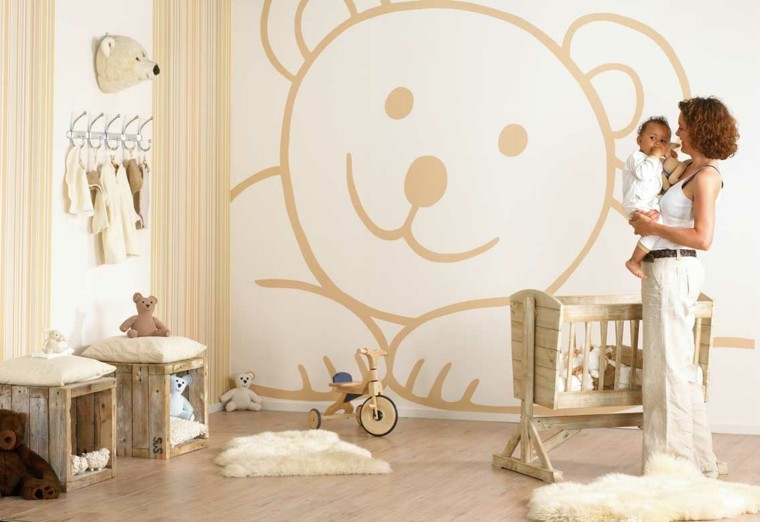 wall covering bedroom baby bear